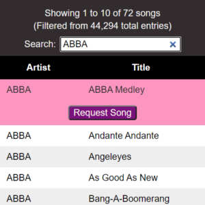 Screenshot of song list functionality